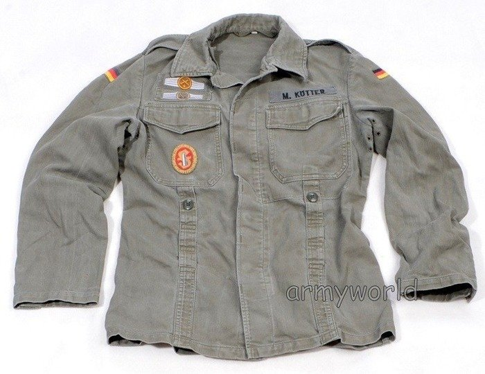 Shirt Moleskin Military German Shirt Bundeswehr Oliv With Badges Original Demobil SecondHand