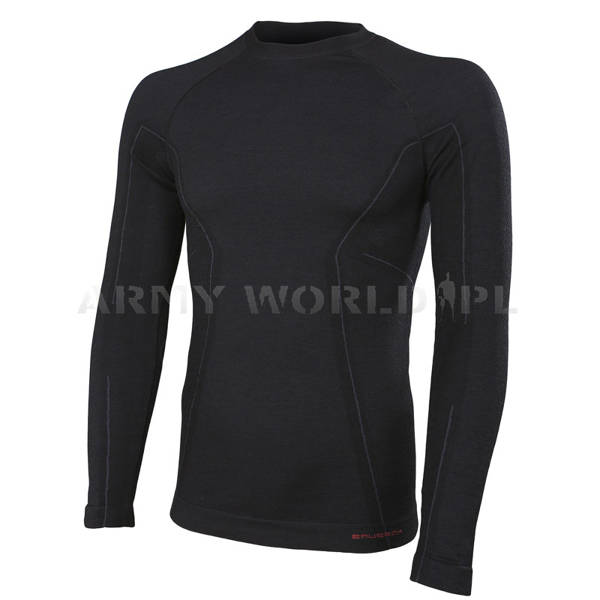 Thermoactive Long Sleeve Shirt ACTIVE WOOL Men's BRUBECK Black New