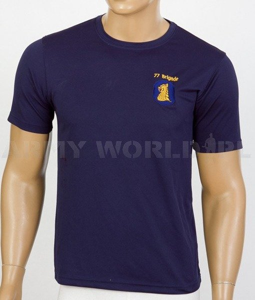 Thermoactive T-shirt Coolmax With Badge 77 Brigade Navy Blue Used