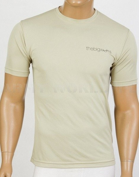 Thermoactive T-shirt Coolmax With Sign The Big Word Khaki Used