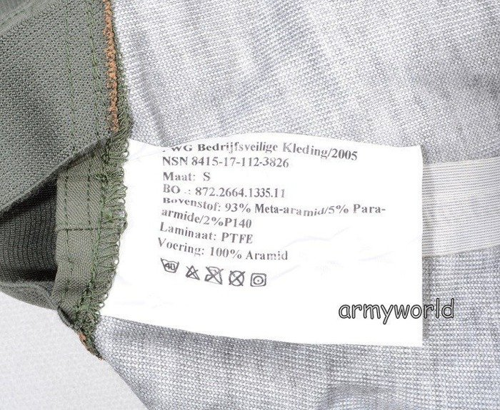 Trousers Nomex / Gore-tex Flame-retendant Waterproof Dutch MODEL 2005 Oliv Original Demobil