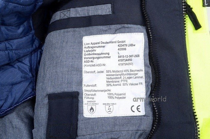Warmed Reflective Jacket Flame-resistant Bundeswehr Original Demobil SecondHand