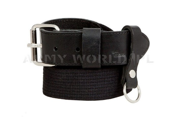 Webbing Belt With Leather Black New