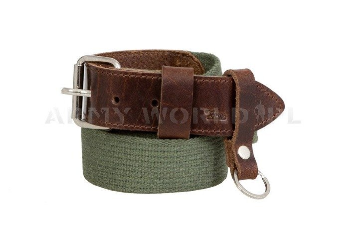 Webbing Belt With Leather Dark Green New