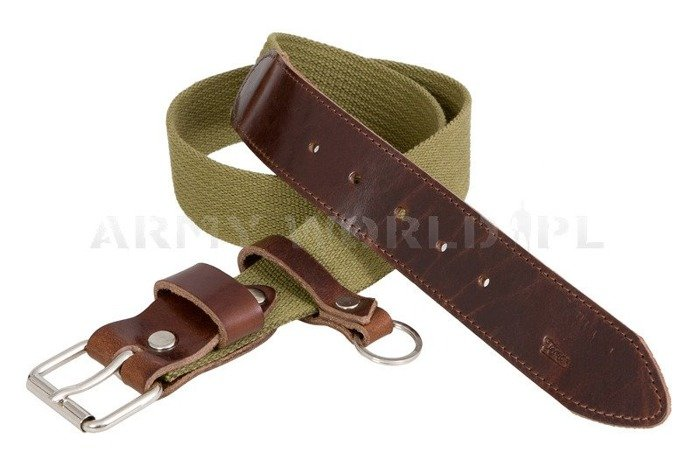 Webbing Belt With Leather Green New