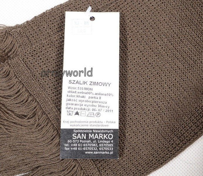 Polish Military Wool Winter Scarf  535/MON Original New