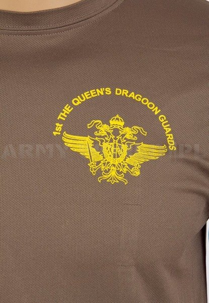 T-shirt Termoaktywny Coolmax Z Napisem 1st The Queen's Dragoon Guards Brązowy Oryginał Demobil