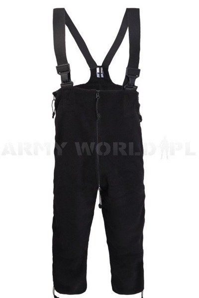 US Military Polartec Fleece Thermal Cold Weather Bibs Overalls in Black