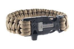 Paracord Bracelet With A Firestarter And A Whistle Bushmen Coyote New