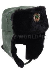 Bundespolizei Ushanka Cap With oat Of Arms Of Saxony-Anhaltu Olive Genuine Military Surplus New