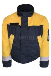Dutch Army Firefighter's Jacket Flame Retardant Welo-tex JBNL Yellow/Navy Blue Genuine Military Surplus Used