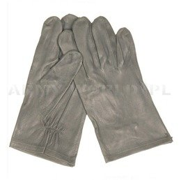 Military Leather Gloves Bundeswehr Grey Original New