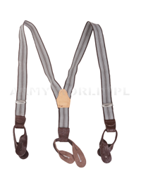Military Suspenders Striped Brown Genuine Military Surplus New