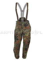 Rainproof Trousers Gore-tex Bundeswehr With Braces Flecktarn Original New