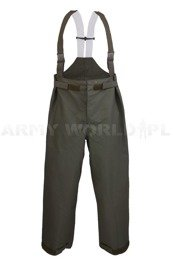 Rainproof Trousers Gore-tex Bundeswehr With Braces Oliv Original Demobil - II Quality
