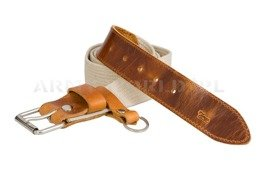 Webbing Belt With Leather Khaki New