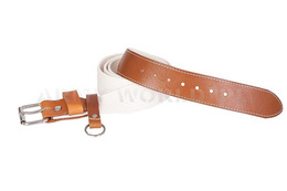 Webbing Belt With Leather White New