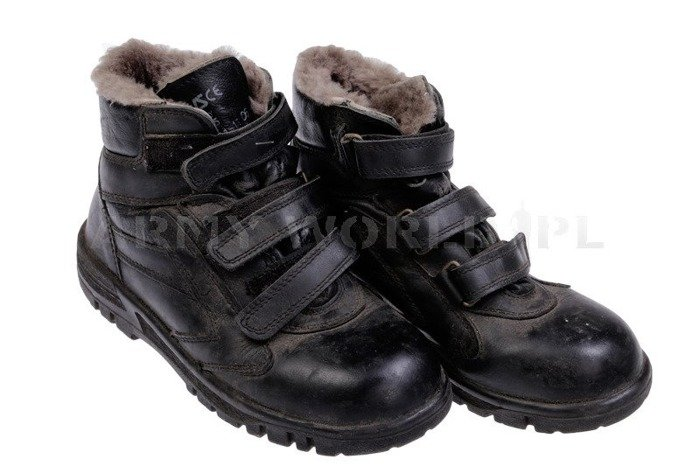 Boots With Velcro Fasteners EWS Black Military surplus Used