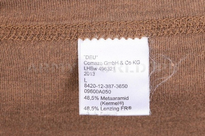 Bundeswehr Undershirt Flame-Retardant KERMEL® Comazo Coyote Genuine Military Surplus Used