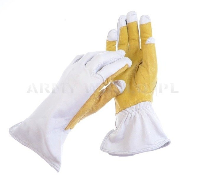Leather Tactical Gloves SAR White-Yellow Original Army Surplus New