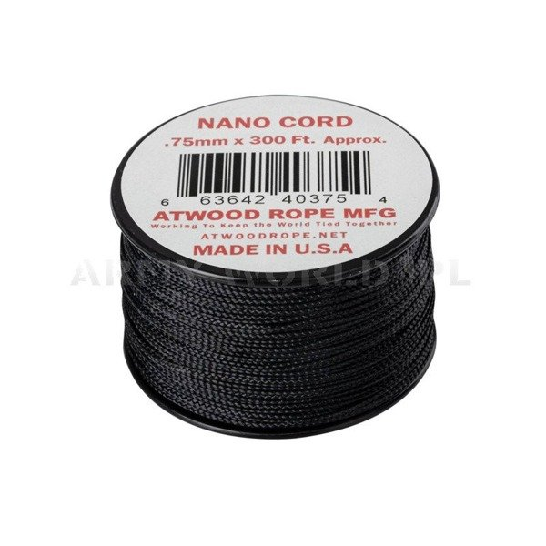 Nano Cord (300ft) Atwood Rope MFG Black New