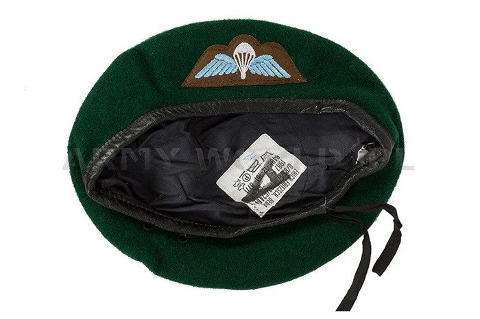 Military Beret With Decorations Of Paratroops Green Original Demobil