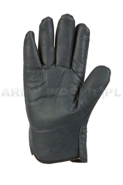 Military Warmed Dutch Leather Gloves Strapper Best Navuy Blue Used