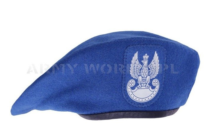 Polish Army Beret  Embossed Print Blue Military Surplus New