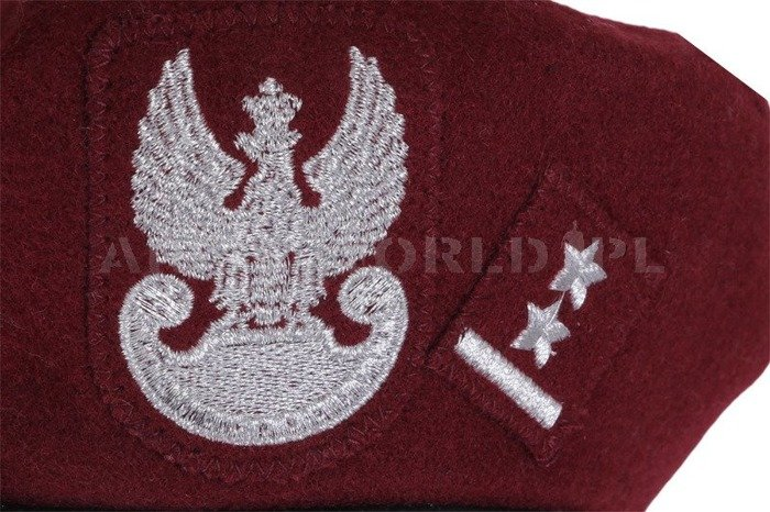 Polish Army Beret Embroidered Lieutenant Claret Genuine Military Surplus New