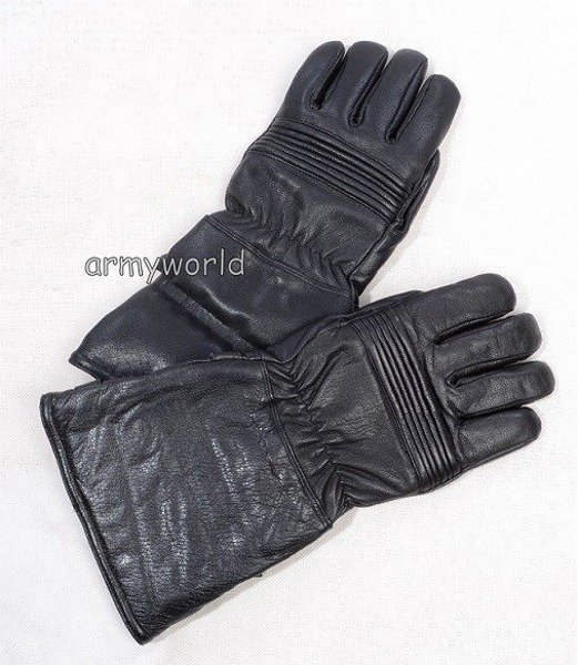 Warmed Leather Motorcycle Gloves Dutch Army Surplus Used