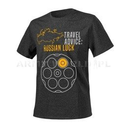 T-shirt Helikon-Tex Travel Advice: Russian Luck Melange Black-Grey