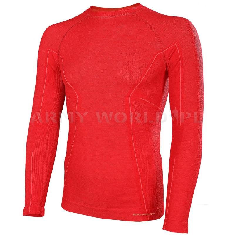 e7d15f352864b3 Koszulka Męska Z Długim Rękawem Termoaktywna ACTIVE WOOL Brubeck Czerwona